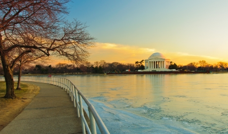 jefferson: Jefferson Memorial and a frozen Potomac at sunset  Washington, DC  Editorial