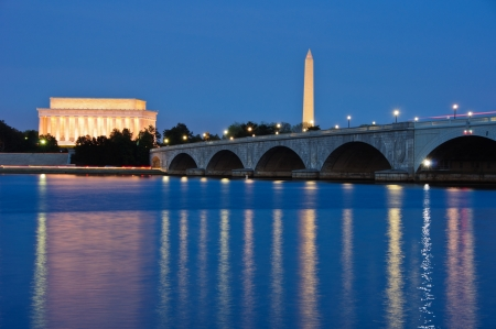 monument: The Lincoln Memorial, Arlington Memorial Bridge and Washington Monument reflected in the Potomac River at dusk  Washington, DC