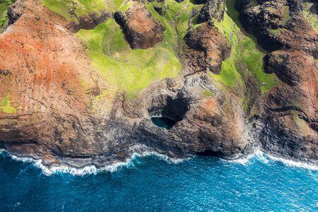 View on Na Pali Coast on Kauai island on Hawaii in a sunny day