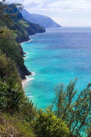 Aerial view of stunning Na Pali coast. Kauai, Hawaii