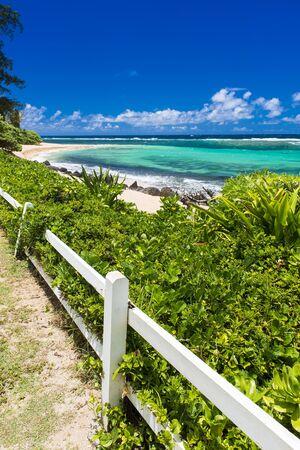 Beautiful tropical beach in Kauai, Hawaii