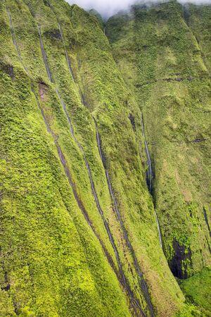 Waterfalls on Na Pali Coast on Kauai island