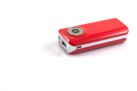 recharge: Power bank, small device that have electricity to recharge many kind of smart phone via USB on withe background