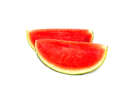 seedless: Red seedless watermelon slice on white back ground