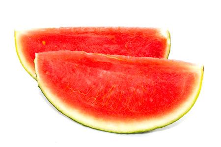 white back ground: Red seedless watermelon slice on white back ground