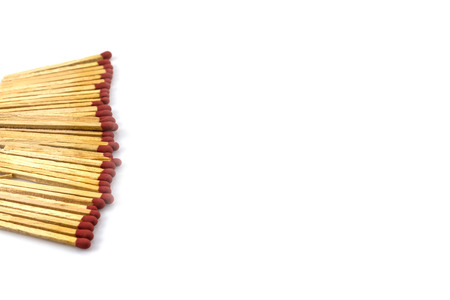 unlit: Matches in a row on a white background