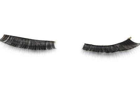 false: Black false eyelashes through use Stock Photo