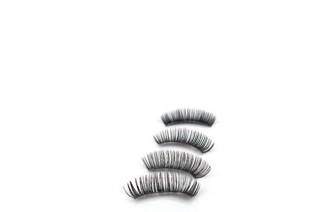 fake eyelashes: Eyelashes use on white background Stock Photo