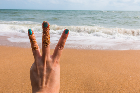 three fingers: Three  fingers at the see for background