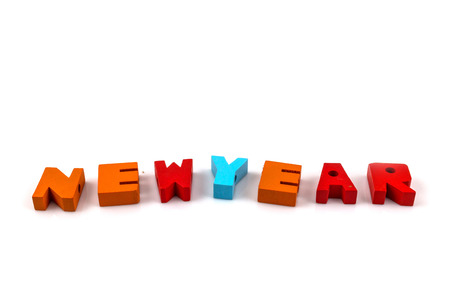 newyear: Concept of English alphabet letters write newyear on White background