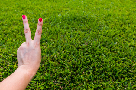 Two fingers on green background