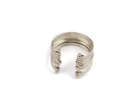 silver jewelry: jewelry bracelets silver a white background.