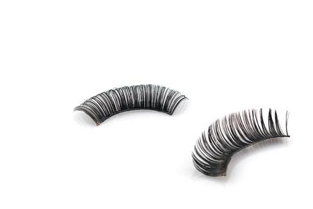 false eyelash: Used Black false eyelash isolated on white background