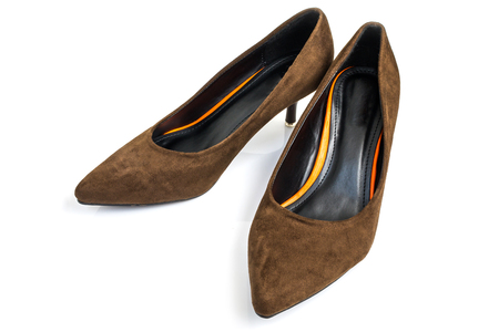 Luxus klassische Frauen Schuhe braun auf weißem Hintergrund