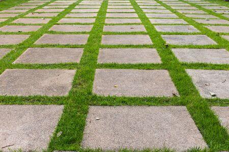 Patroon van vierkante cement vloertegels met groene gras blackground