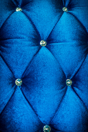 Luxury  blue velvet cushion close-up background