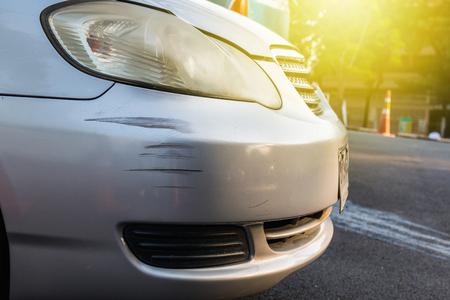 ホワイトの前で車を傷 写真素材
