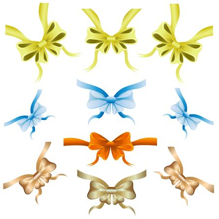 Set of colored ribbons for decoration
