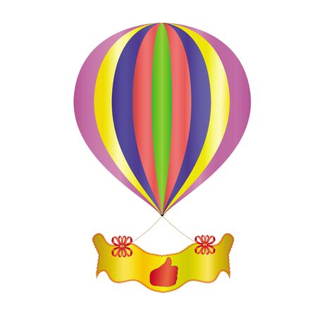 A balloon with a bannerdecoration ribbons, hand symbol