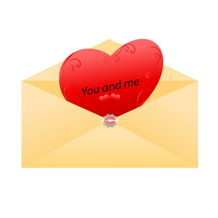 Envelope with love messages with heart inside