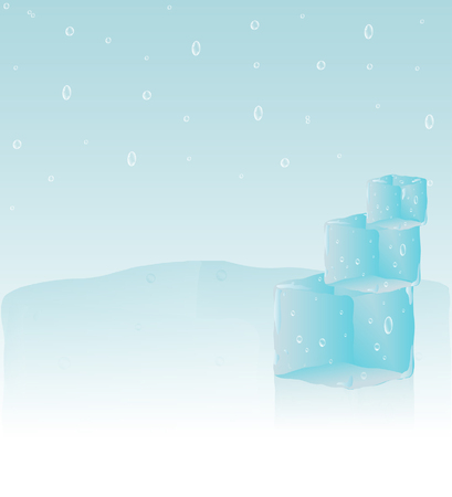 Abstract background with ice cubes and water drops Vector