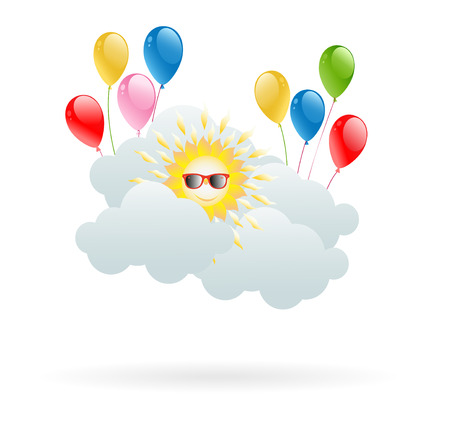 hilarious: Sun in the clouds with hilarious balloons