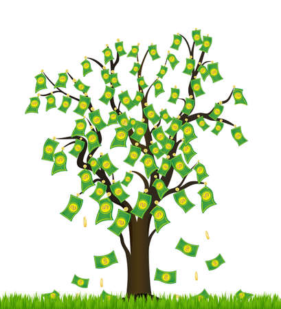 Tree overgrown with money  Business success Vector