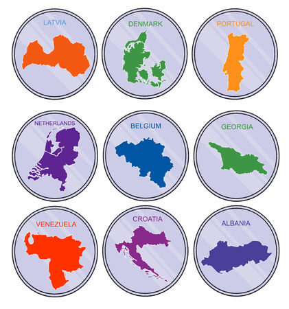 translated: Countries of the world on coins  Set  Earth map derived from http   www lib utexas edu maps world_maps world_physical_2011_nov pdf, and has been translated into the layers  �reated in 2013 year, in Illustrator CS5