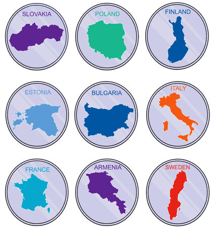 derived: Countries of the world on coins  Set  Earth map derived