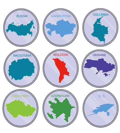 macedonia: Countries of the world on coins  Set  Earth map  Illustration