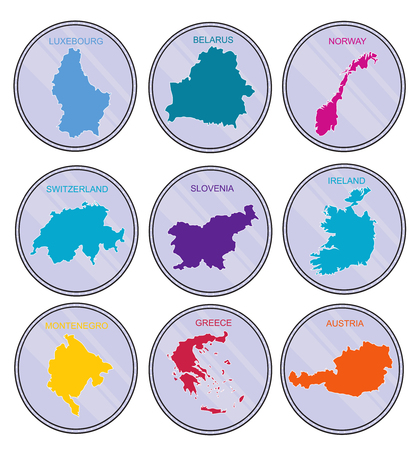 greece map: Countries of the world on  coins  Set