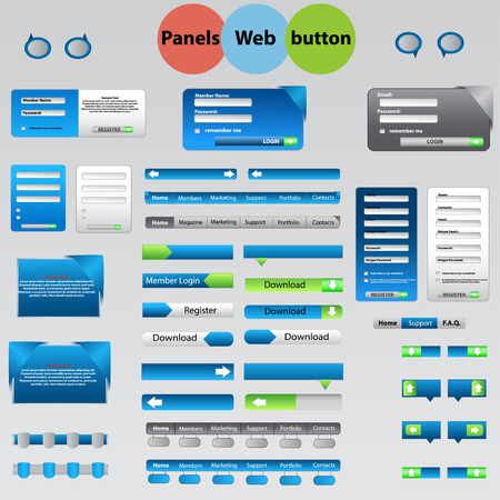 sidebar: Large set of web panels, buttons for your ideas Illustration