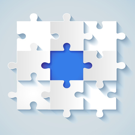 business for the middle: Paper puzzle with a blue the middle for business concepts