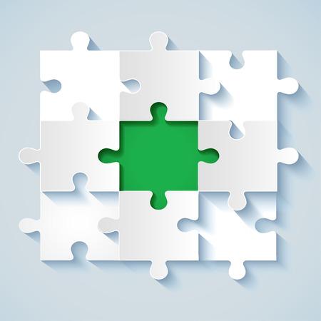 piezas de puzzle: Rompecabezas de papel con el verde del medio de conceptos de negocio