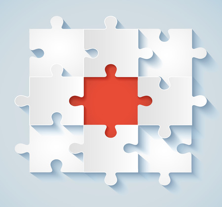 business for the middle: Paper puzzle with red the middle for business concepts