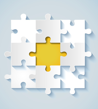 business for the middle: Paper puzzle with yellow the middle for business concepts   Illustration