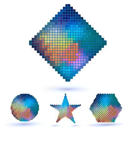 Set of abstract geometric shapes of a mosaic  Old futuristic style