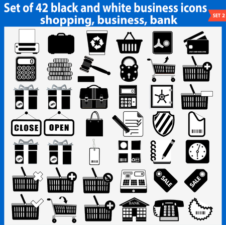 Vector set of beautiful black and white business icons  Vector