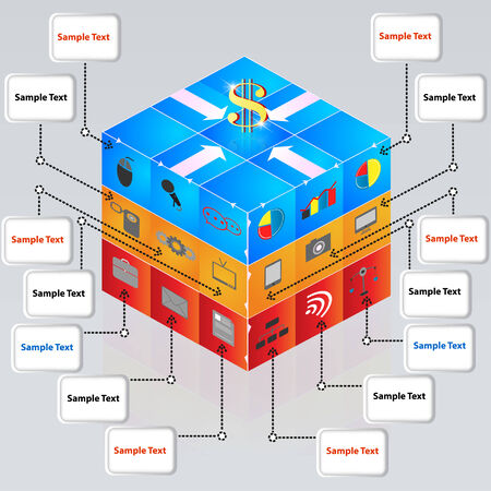 3d cube with icons for business concepts  Presentations, brochure,template, Web design element Vector