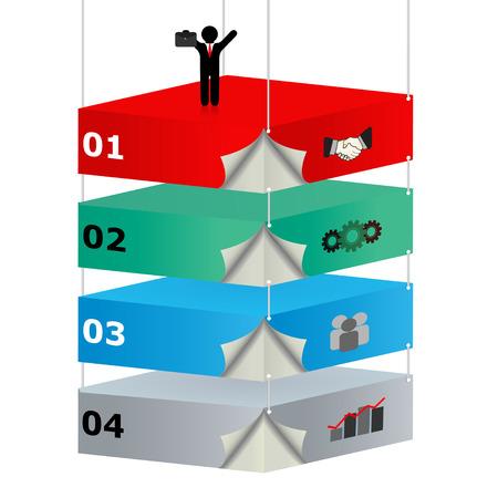 dominance: 3D suspendido plataformas con iconos para ideas de negocio