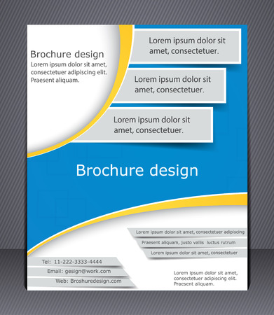 Brochure design in blue and yellow colors  Layout flyer, template, or a magazine cover, website template   Illustration