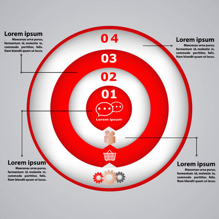 demonstrative: Circular diagram with icons for business concepts