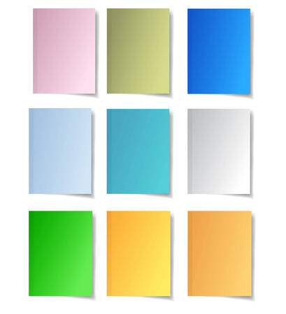 Colorful paper notes  Set of nine papers Vector