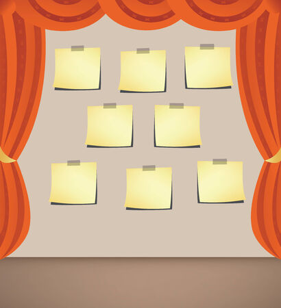 theater audience: Curtain with note- papers for your ideas Illustration