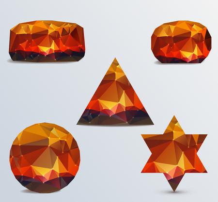 icosahedron: Geometric shapes  Set of luminous rubies Illustration