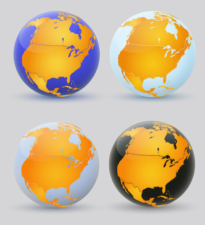 meridians: Globe and North America  Set of multi-colored globes of America