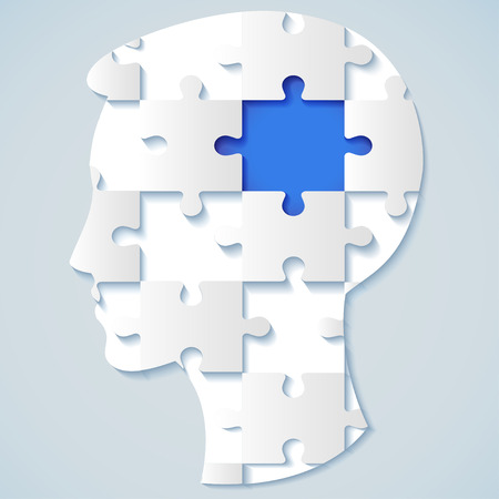brain game: Human face in the form of a puzzle with a blue mid  business concept Illustration