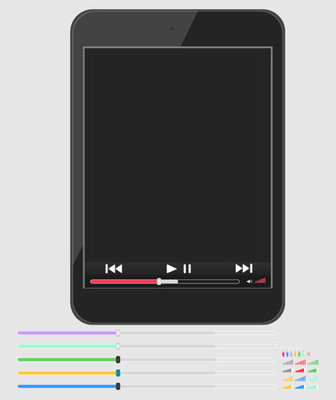 Layout smartphone with multimedia player Vector