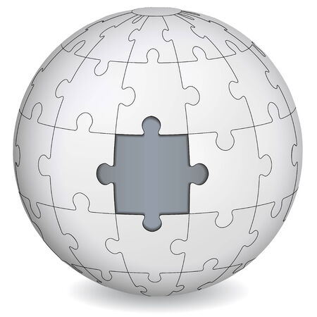 Puzzle land with gray the middle  Business concept  Vector