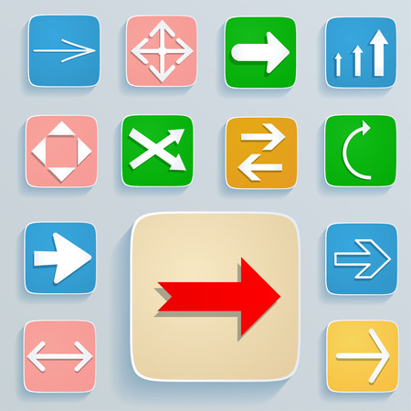 orientation marker: Set of arrows on the icons  White arrows in soft colors